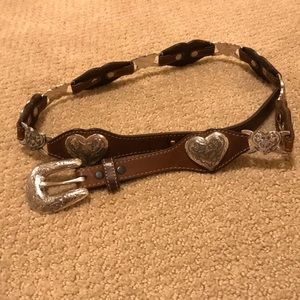 Leather belt with silver hearts and buckle